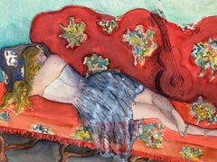 Mid 20th Century French Modernist Painting - Girl Sleeping on Sofa