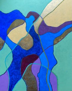 Huge Abstract Painting by Listed British artist - Blue Green Gold Purple Mustard