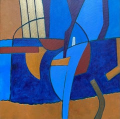 Abstract Painting by Listed British artist - Deep Blue Mustard Gold Ochre Colors
