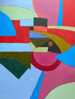 Geometric Abstract Painting by Listed British artist - Mix of Bright Colors