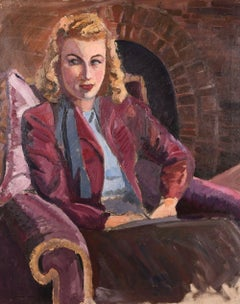 Mid 20th century 1950's Portrait of Stylish Lady Seated by Fireside Large Oil