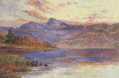 SIGNED ANTIQUE SCOTTISH HIGHLAND LOCH AT SUNSET - OIL PAINTING