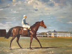 Racehorse with Jockey Up Parading at Racecourse Fine British Impressionist Oil
