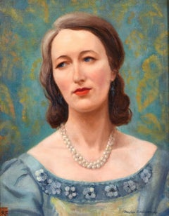 MID 20th CENTURY BRITISH OIL - PORTRAIT OF A LADY IN PEARL NECKLACE - TEAL GREEN