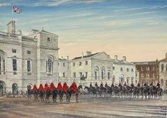 HORSE GUARDS WINTER MORNING LONDON - LARGE BRITISH OIL PAINTING, SIGNED