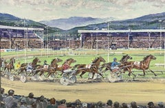 NORWEGIAN TROTTING HORSE RACING - LARGE OIL PAINTING - BY ANTHONY MAGUIRE