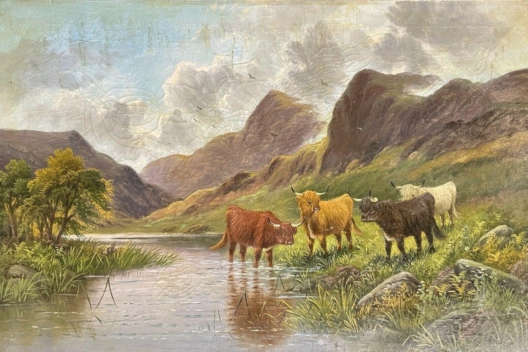 E. Heaton Landscape Painting - ANTIQUE SCOTTISH SIGNED OIL - CATTLE WATERING IN MOUNTAINOUS SUMMERS RIVER GLEN