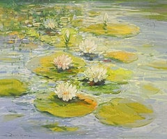LARGE IMPRESSIONIST SIGNED PAINTING - THE WATERLILY POND