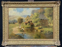 SIGNED VICTORIAN ENGLISH OIL PAINTING - CHILDREN PLAYING WATERMILL STREAM DUCKS