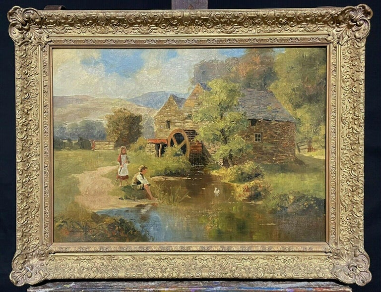 S. Warburton Figurative Painting - SIGNED VICTORIAN ENGLISH OIL PAINTING - CHILDREN PLAYING WATERMILL STREAM DUCKS