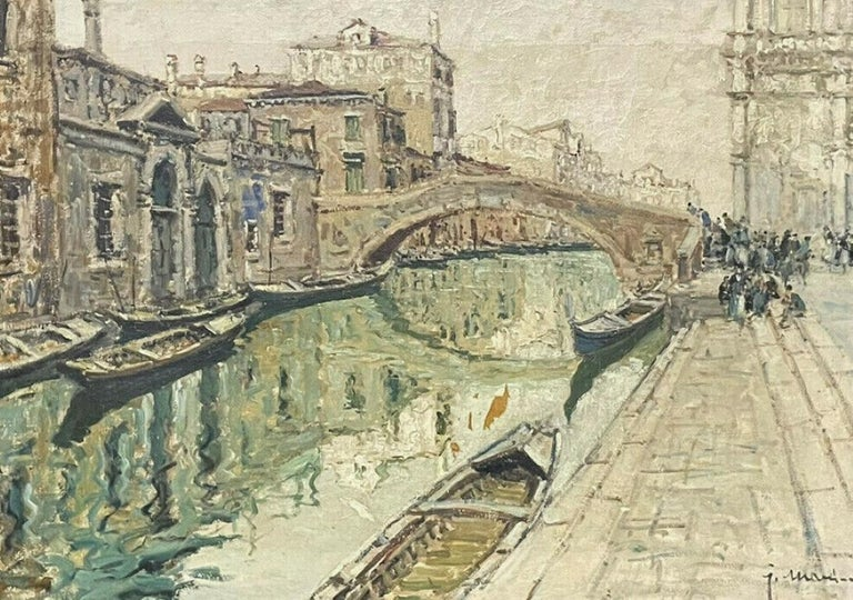 Italian Signed Landscape Painting - VERY LARGE 1960'S ITALIAN SIGNED OIL - MODDY IMPRESSIONIST VENICE CANAL SCENE