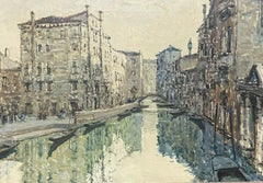 VERY LARGE 1960'S ITALIAN SIGNED OIL - IMPRESSIONIST VENICE TRANQUIL CANAL SCENE