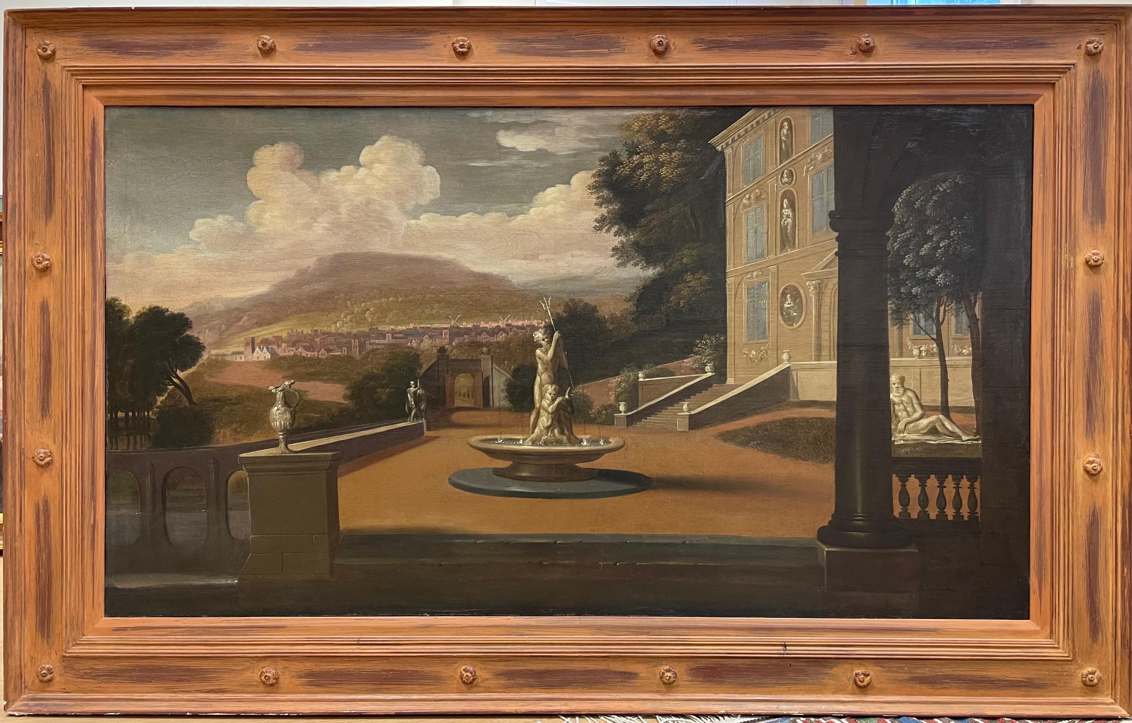 Huge Early 1700's Italian Old Master Oil Painting Neo Classical Palace Landscape