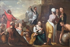 Huge Early 1700's Dutch Old Master Oil on Wood Panel - Moses Striking the Rock