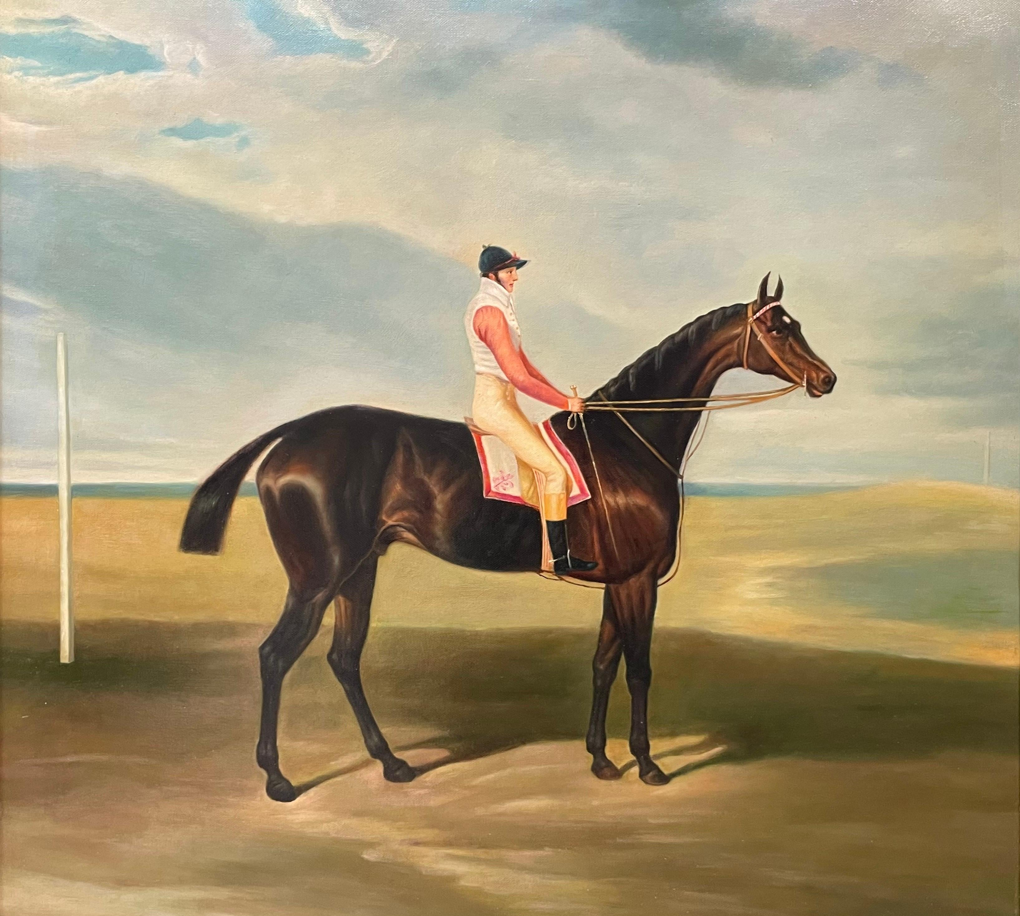 Fine Classic British Sporting Art Oil Painting - Racehorse with Jockey Up