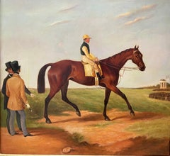 Fine Classic British Sporting Art Oil Painting - Racehorse with Jockey & Trainer
