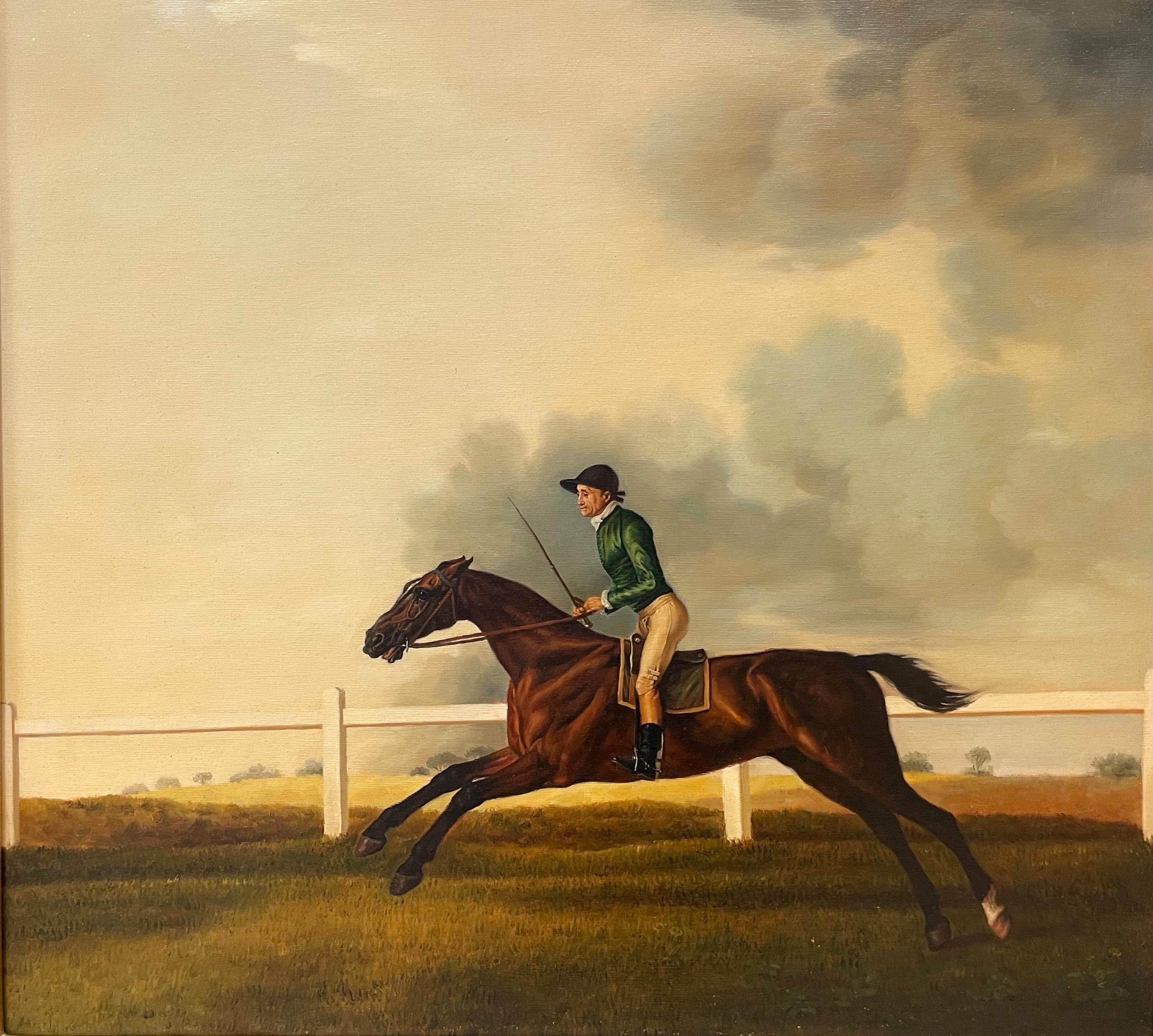 Fine Classic British Sporting Art Oil Painting - Racehorse with Jockey Galloping