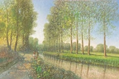LARGE FRENCH IMPRESSIONIST SIGNED OIL - POPLAR TREES RIVERBANK WITH FIGURES