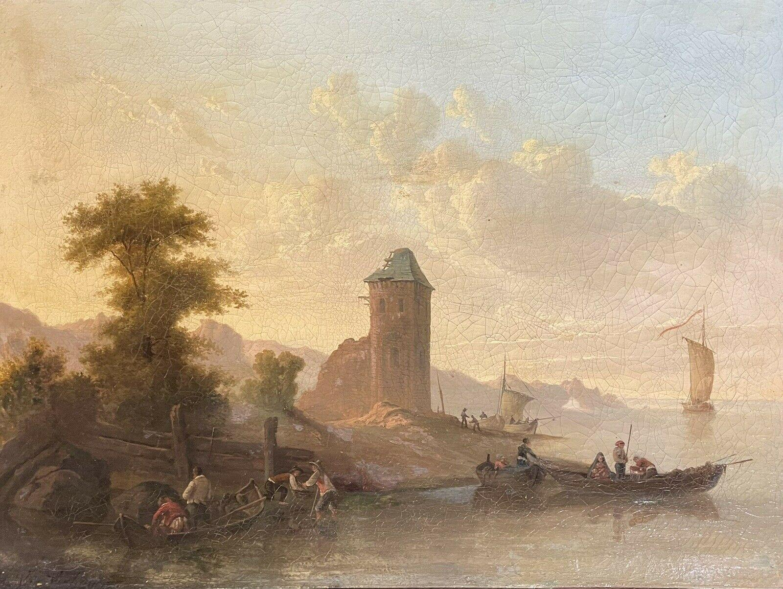 18th/19th C. SIGNED EUROPEAN OIL PAINTING ON CANVAS - MERCHANT PORT AT SUNSET