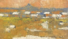 Mid 20th Cent. French Signed Modernist Oil Painting - Abstract Village Landscape