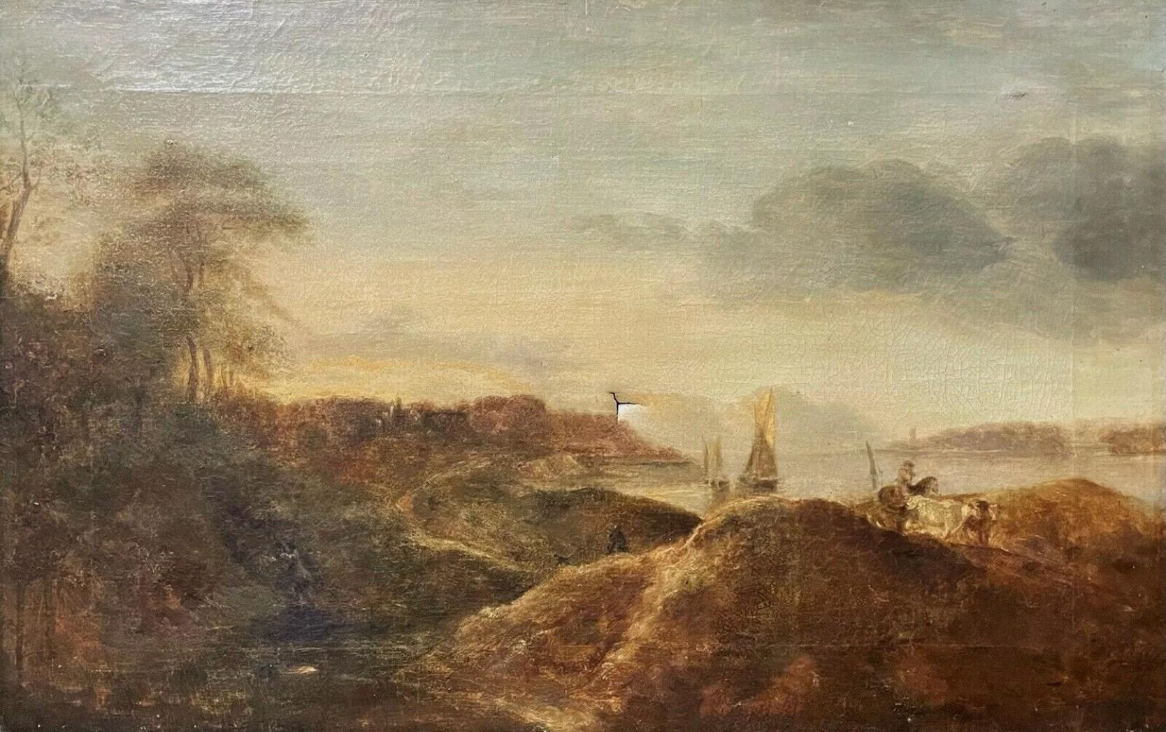 Early 1800's Dutch Oil Painting - Coastal Landscape Figures Boats & Animals