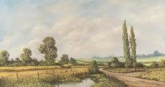 Large Vintage English Signed Oil Painting Harvest Scene In Fields - R.Hamer