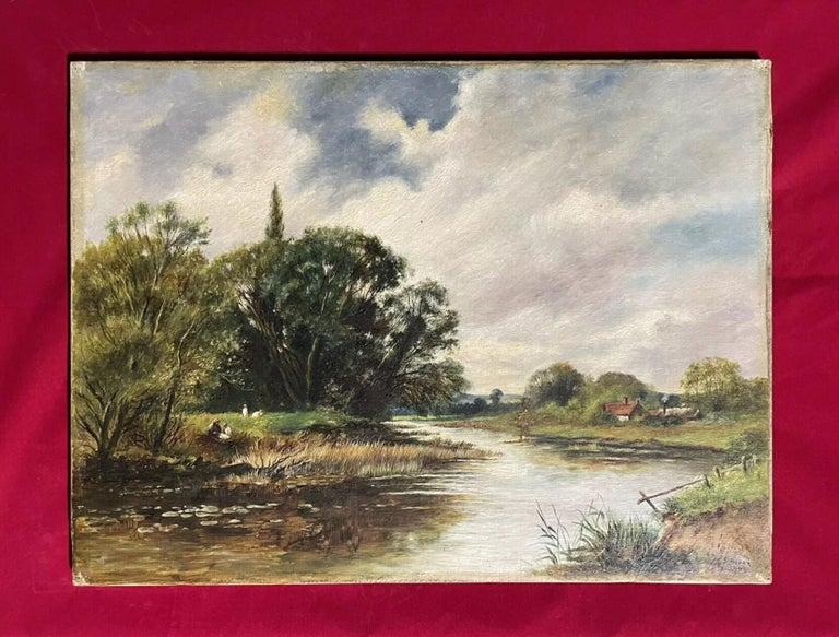 Fine Edwardian Signed Oil Painting - Country River Landscape Picnic Figures - Beige Figurative Painting by English signed