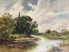 Fine Edwardian Signed Oil Painting - Country River Landscape Picnic Figures