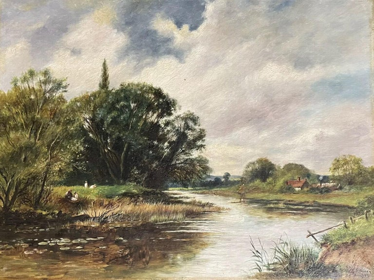 English signed Figurative Painting - Fine Edwardian Signed Oil Painting - Country River Landscape Picnic Figures