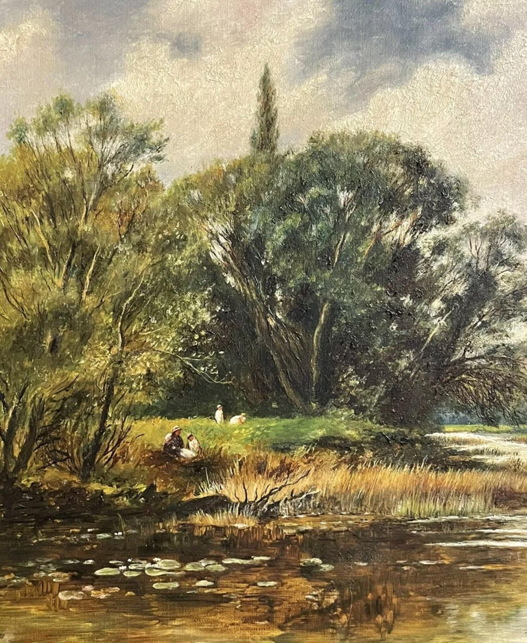 Artist/ School: English School, signed and dated 1903 lower corner.   Title: The Winding River  Medium: oil painting on canvas, unframed.  Size:  painting: 18 x 24 inches  Provenance: private collection, UK  Condition: The painting is in good and