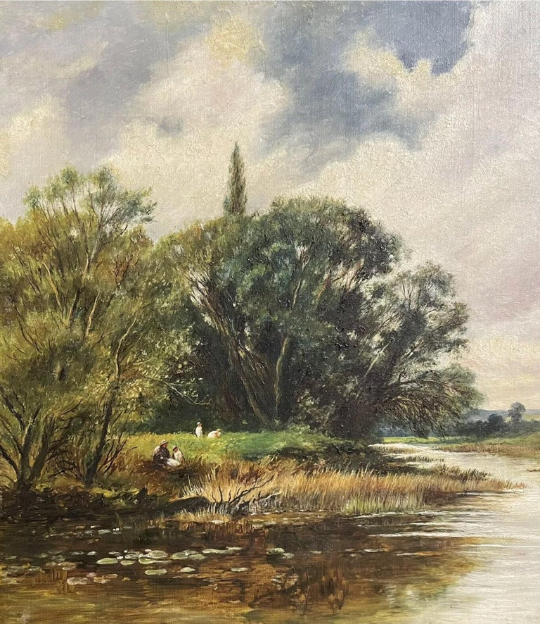 Fine Edwardian Signed Oil Painting - Country River Landscape Picnic Figures For Sale 1