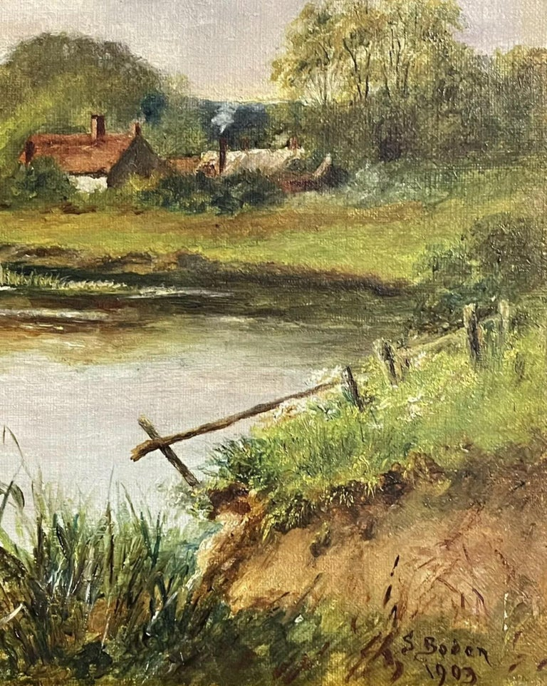 Fine Edwardian Signed Oil Painting - Country River Landscape Picnic Figures For Sale 2