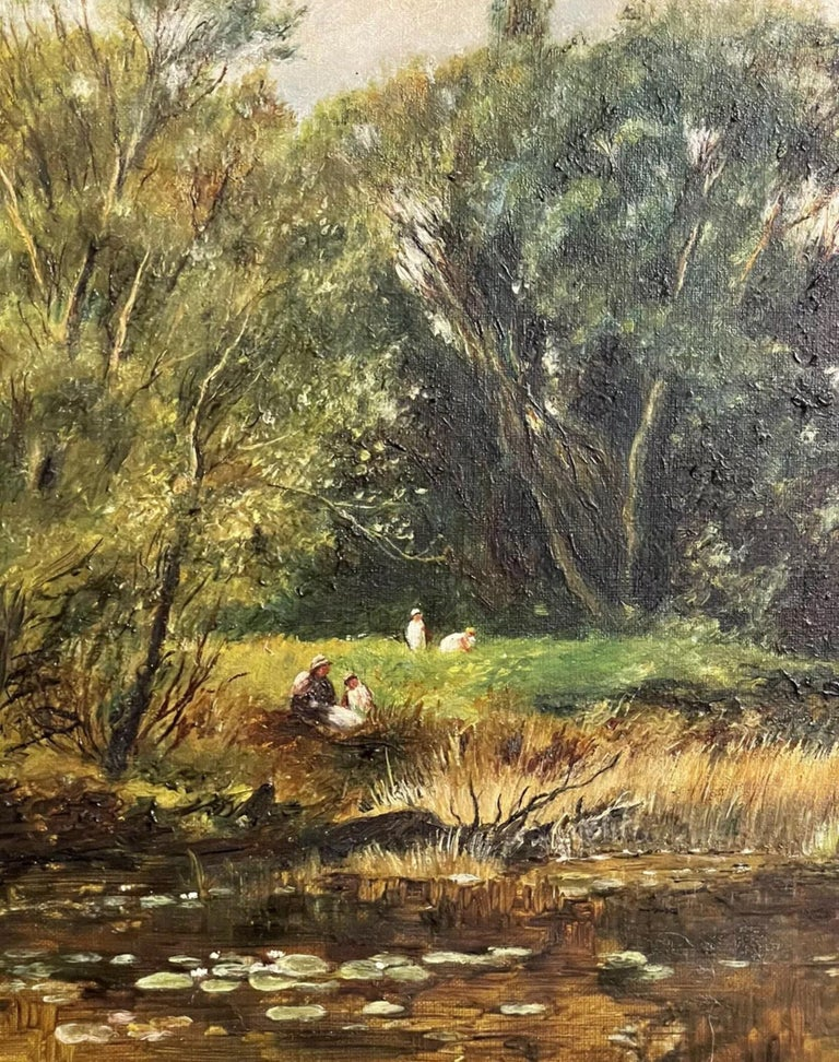Fine Edwardian Signed Oil Painting - Country River Landscape Picnic Figures For Sale 3