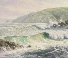 Martin Spencer Coleman - Signed Oil Painting - Crashing Waves On Coastline