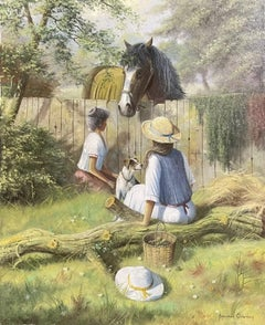 Signed English Oil Painting Children Feeding Horse With Terrier Dog Lovely image