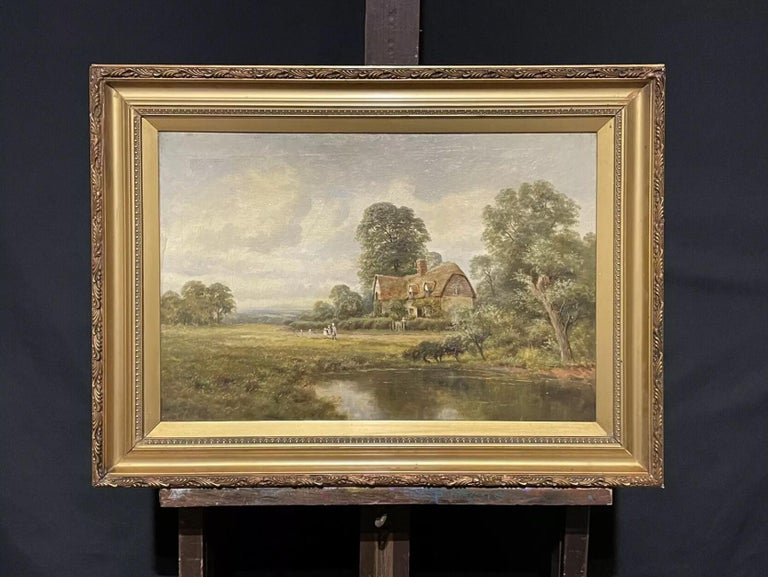 Antique English Oil Painting - children in country rural cottage Meadow & Pond - Brown Landscape Painting by H. Johnston