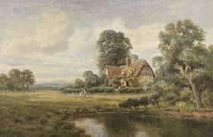 Antique English Oil Painting - children in country rural cottage Meadow & Pond