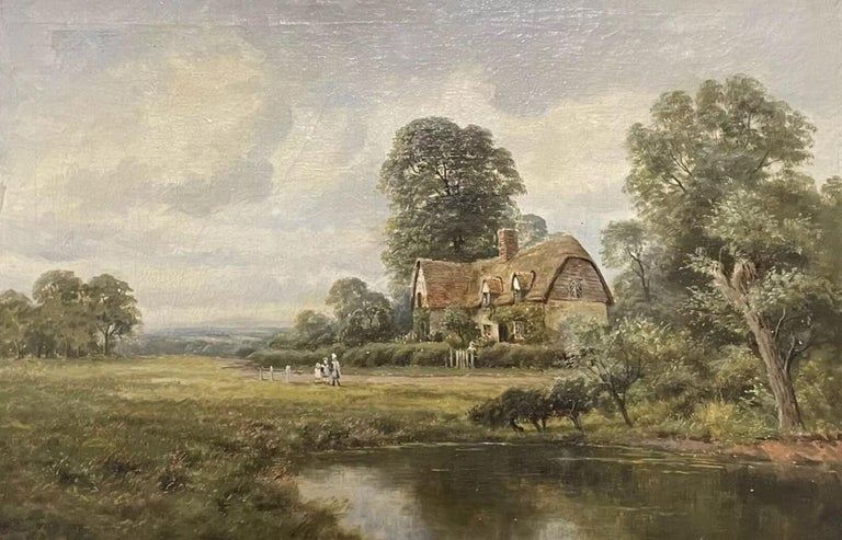 H. Johnston Landscape Painting - Antique English Oil Painting - children in country rural cottage Meadow & Pond
