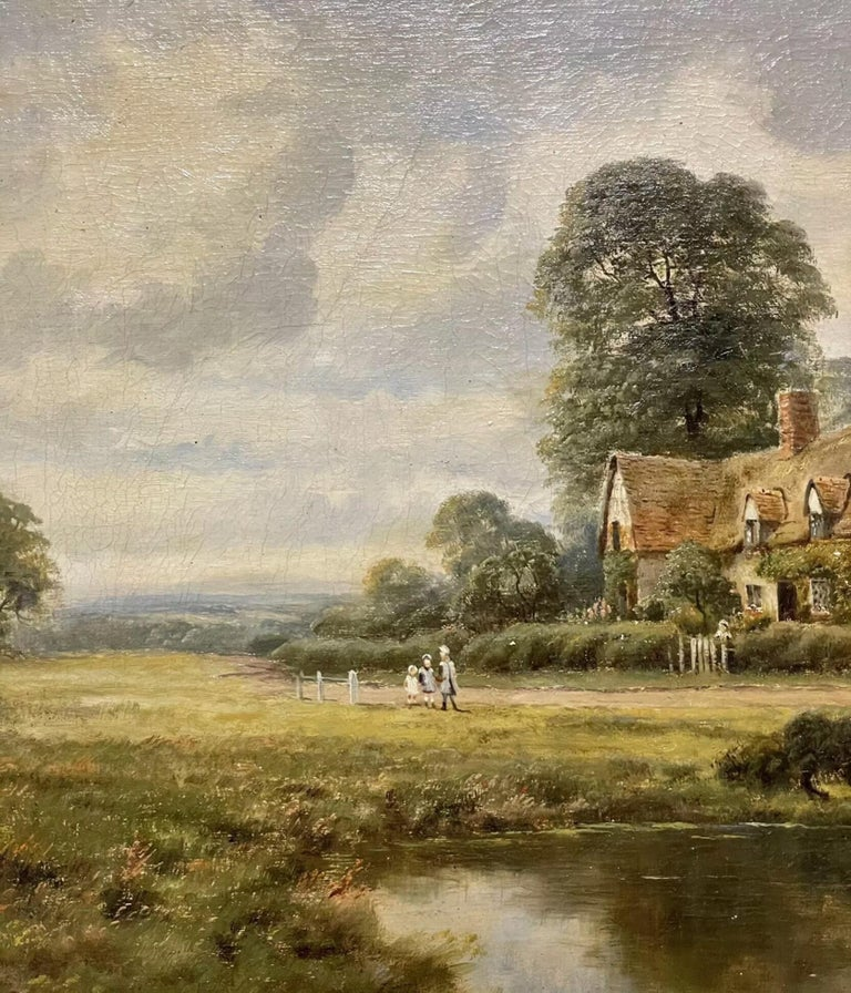 Artist/ School: H. Johnston, British 19th/20th century.   Title: The Country Cottage.   Medium: oil painting on canvas, framed.  Size:  painting: 16 x 24 inches, frame: 22.5 x 30.5 inches   Provenance: private collection, England.   Condition: The