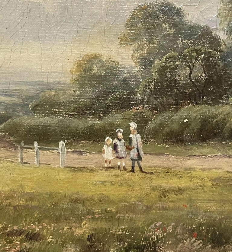 Antique English Oil Painting - children in country rural cottage Meadow & Pond For Sale 1