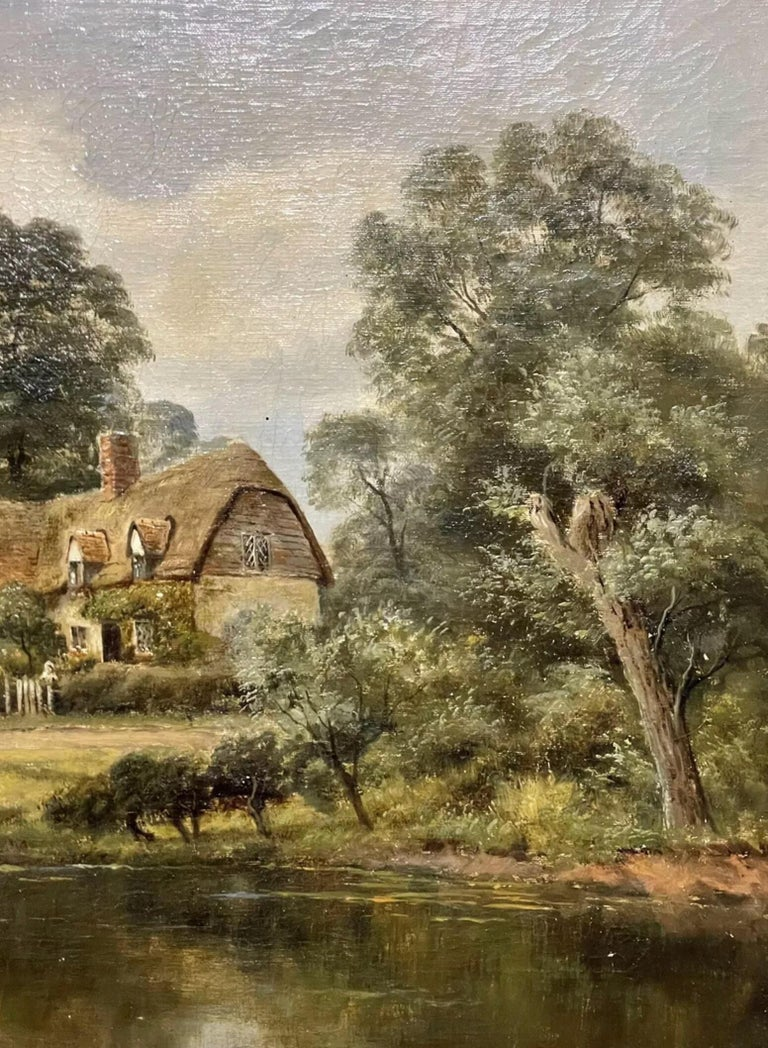 Antique English Oil Painting - children in country rural cottage Meadow & Pond For Sale 2