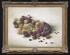 Large Signed Oil Still Life Fruit - Opulent display grapes peaches cherries