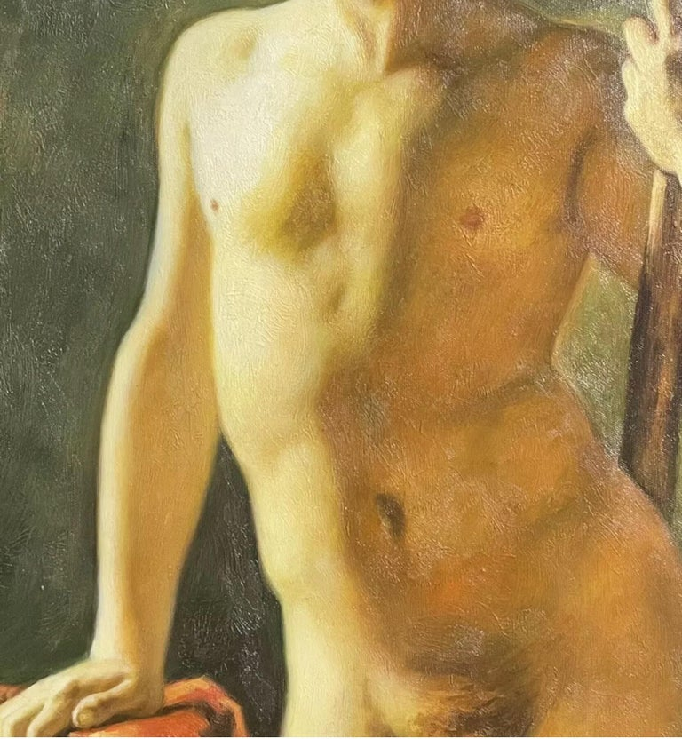 Large Classical Oil Painting - Mythological Male Nude Holding A Staff - Brown Nude Painting by British School