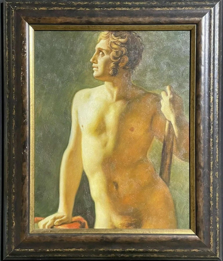 British School Nude Painting - Large Classical Oil Painting - Mythological Male Nude Holding A Staff