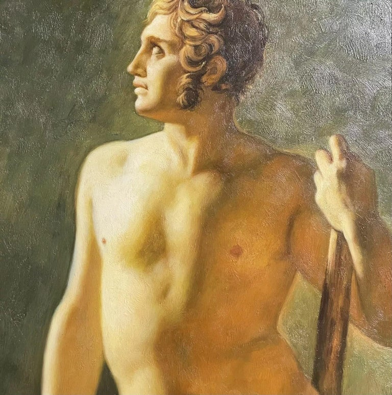 Artist/ School: British School, contemporary  Title: Classical Male Nude holding a staff.   Medium: oil painting on canvas, framed.  Size:  painting: 20 x 16 inches, frame: 25.75 x 21.75 inches   Provenance: from a collection in the UK.   Condition: