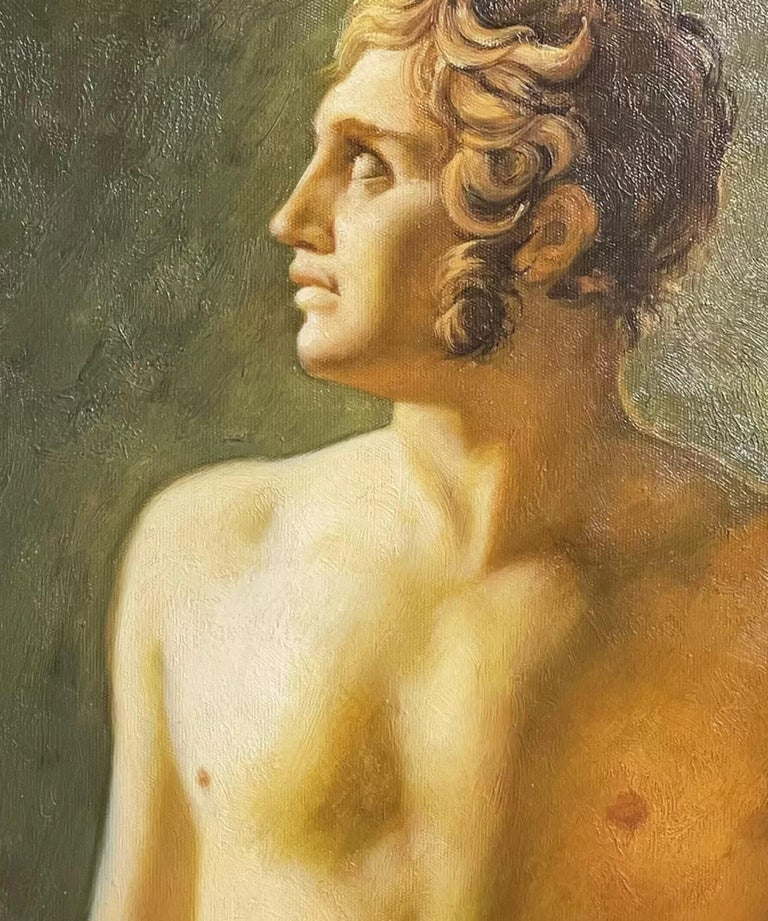 Large Classical Oil Painting - Mythological Male Nude Holding A Staff For Sale 1
