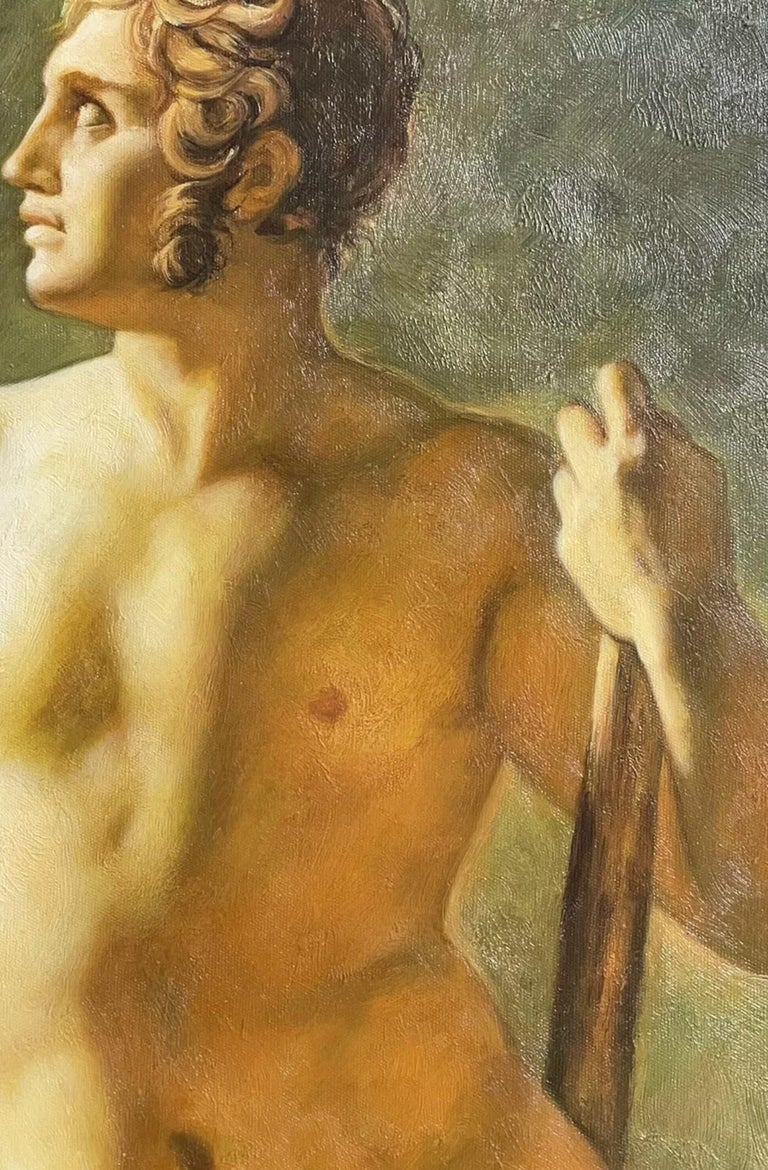Large Classical Oil Painting - Mythological Male Nude Holding A Staff For Sale 2