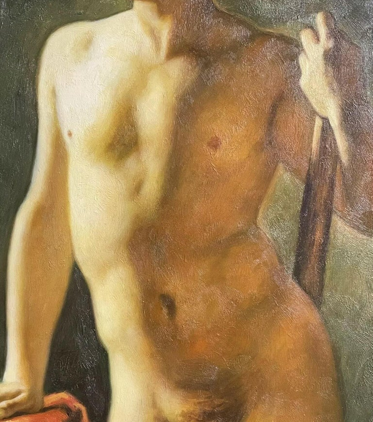 Large Classical Oil Painting - Mythological Male Nude Holding A Staff For Sale 3