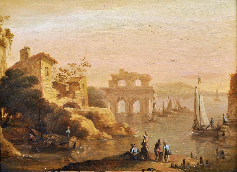 1700's ITALIAN/ AUSTRIAN OIL ON PANEL - CAPRICCIO COASTAL SCENE FIGURES & BOATS
