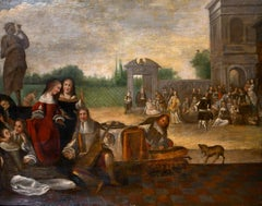 Huge 1700's Dutch Old Master Oil Painting Elegant Court Figures Musical Soiree